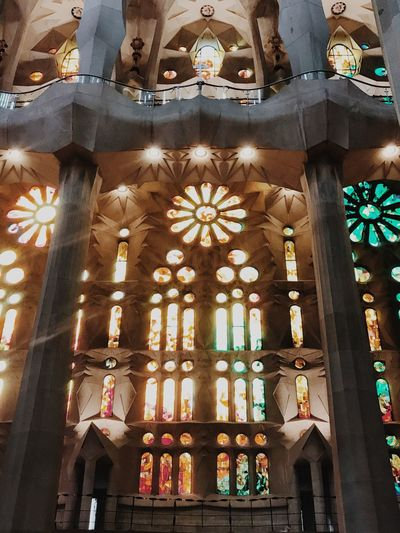 Barcelona Sagrada Familia Architecture Built Structure Place Of Worship Low Angle View Building Exterior Belief Religion Architectural Column Day Window History The Past Travel Destinations Glass Building Spirituality No People Ornate
