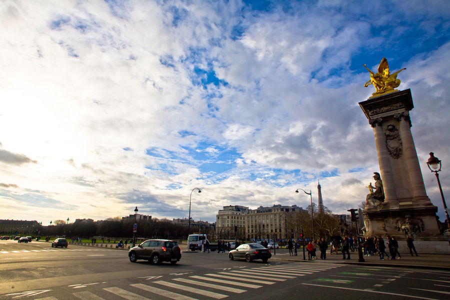 A view from Alexander III bridge Paris Pont Alexander III Pont Alexandre III Car Cloud - Sky Transportation Land Vehicle Sky Mode Of Transport Travel Destinations City Day Statue Outdoors Sculpture