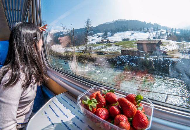Ive been blessed to have travelled all over the world but this journey from Montreuxto Gstaadwas just so beautiful. Nothing prepares you for the beauty of the Swiss Landscape. Even the fresh Strawberrieswhich we bought at a cheap $2.50 were left untouched for long stretches of this Journey. Nature Snow River Feel The JourneyParadiseOriginal Experiences Switzerland Train Journey