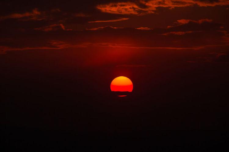 Scenic view of orange sky