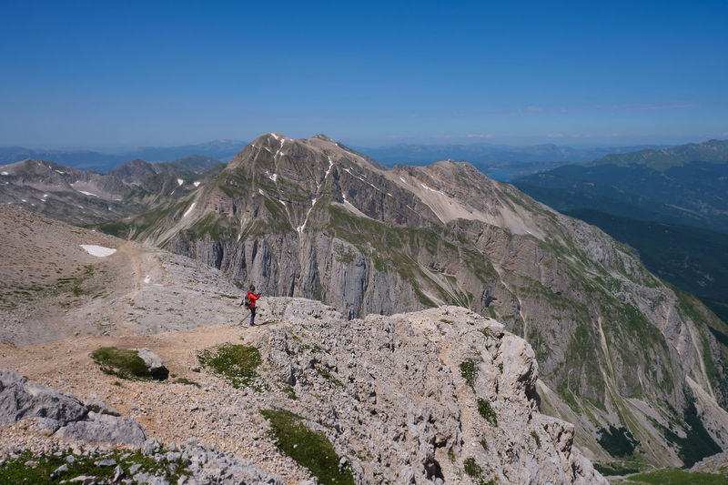 Mountaineer observing the landscape of the mountains of the laga gran sasso abruzzo