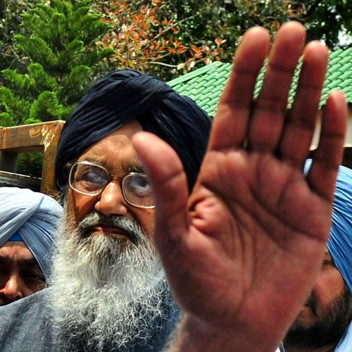 Hindustan_times Cm Parkash singh Badal during the Congress MLA's protest outside His residence in Chandigarh