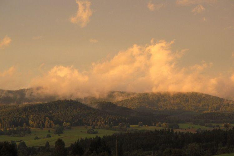 Dramatic Sky Beauty In Nature Cloud - Sky Evening Evening Sky Idyllic Landscape Mountain No People Non-urban Scene Orange Color Outdoors Scenics - Nature Sky Sunset Tranquil Scene