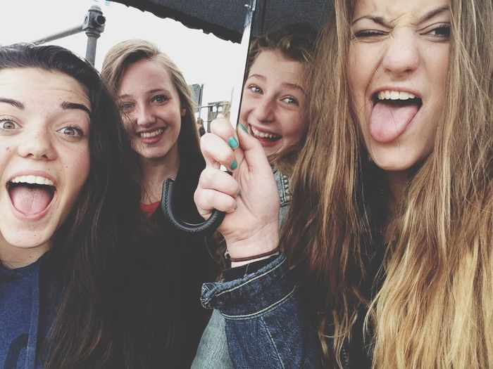 Girls Geography Trip Fun Rain