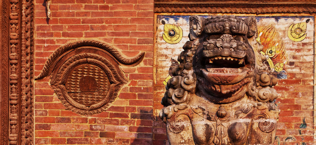 Durbar Square Kathmandu Nepal Ancient Ruins Architecture Art And Craft Brick Brick Wall Building Exterior Built Structure Carving - Craft Product Craft Creativity Culture And Tradition Day No People Old Ruin Representation Sculpture Wall Wall - Building Feature