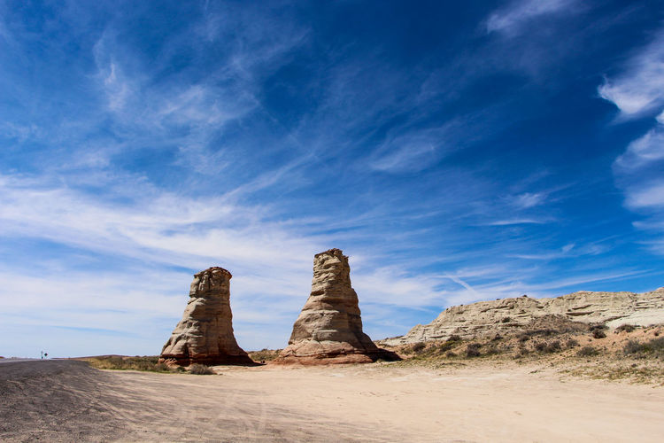 Sky Rock Scenics - Nature Solid Rock Formation Rock - Object Cloud - Sky Tranquil Scene Beauty In Nature Landscape Desert Non-urban Scene Environment Tranquility Land Climate Nature Blue No People Day Arid Climate Outdoors Sandstone Eroded Stack Rock Arizona Utah Desert