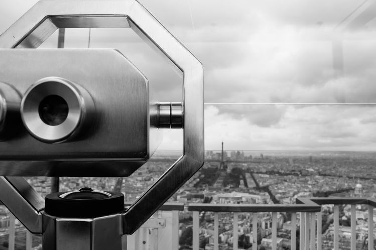 Binoculars Blackandwhite Building Built Structure City Europe France Modern My Point Of View Paris Part Of Sky Traveling View Feel The Journey Miles Away Welcome To Black
