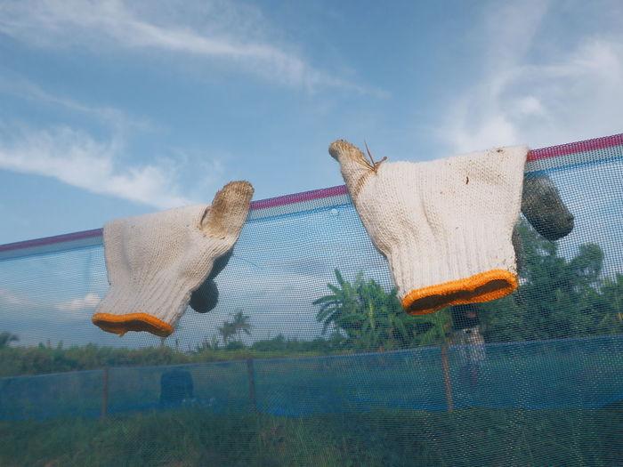 Gloves hanging on fence against sky