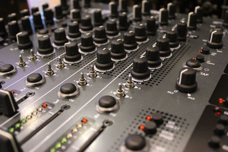 Close-Up Of Sound Mixer In Studio