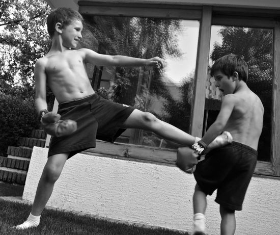 Adult Boxing Boys Brotherhood Cheerful Child Childhood Day Fighting Kicks Kids Being Kids Outdoors People Real People Swing Tree