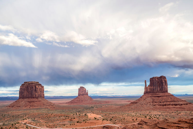 Panoramic view of rock formations against cloudy sky