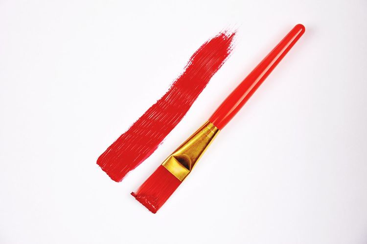 Red Paint Red Paint Brush Red Brush Colour LINE White Background Studio Shot Close-up No People