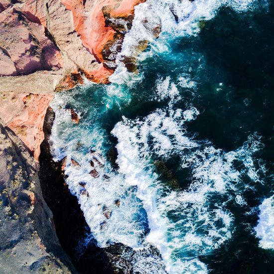 Nature Beauty In Nature Travel Destinations Water No People Tranquility Rock - Object Scenics Day Outdoors Motion Aerial Photography DJI Mavic Pro Sea Aerial View Canary Islands A Bird's Eye View The Great Outdoors - 2017 EyeEm Awards