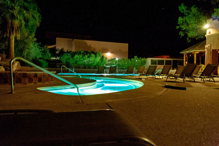 Arizona Mira Vista Resort Absence Architecture Building Exterior Built Structure Chair City Empty Illuminated Lighting Equipment Motion Nature Night No People Outdoors Plant Pool Restaurant Seat Swimming Pool Table