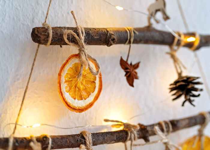 Close-up of orange fruits hanging on wood