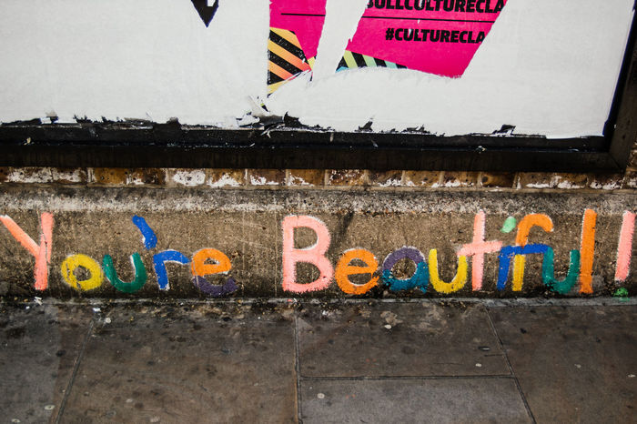 Beautiful Colors Happy Shoreditch Architecture Art And Craft Building Exterior Colorful Communication Graffiti Handwritten Multi Colored No People Street Art Streetphotography Text You Are Beautiful