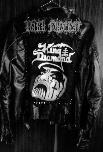 Jacket in progress 💜💪! Metalhead Metalwork Metalmusic Ilovemetal Kingdiamond TheKing Darkfuneral Music AllBlackEverything AllBlack AllBlack Everything Spikes