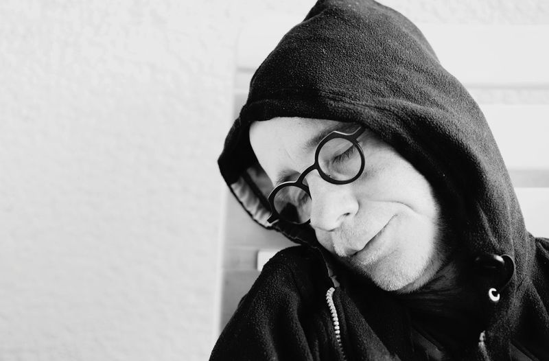 sleeping man Lifestyles Man Sleeping Funny Blackandwhite Relaxing One Person Relax Home Room Warm Clothing Young Women Eyeglasses  Beautiful Woman Portrait Headshot Women Human Face Close-up Glasses Caucasian Vision