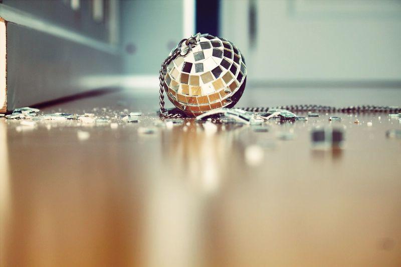 Close up of broken disco ball
