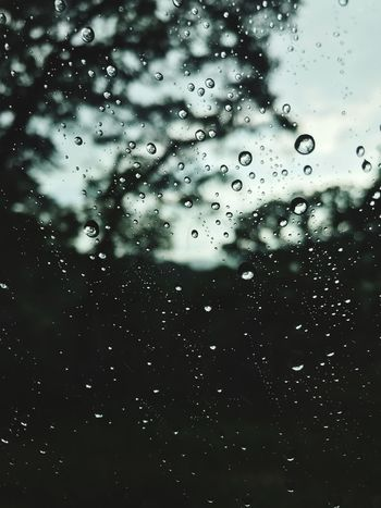 Water Drop Wet Transparent Full Frame Window No People