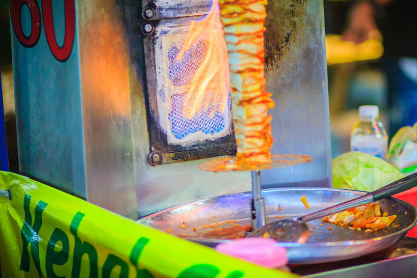 Bangkok, Thailand - March 2, 2017: Street vendor is selling grilled kebab, the popular street foods at Khao San Road night market, Bangkok, Thailand. Kebab Meat Khao San Rd Khao San Road KhaoSan Khaosan Rd. Khaosandroad Tourist Tourist Attraction  Tourists Architecture Belief Built Structure Burning Close-up Day Focus On Foreground Food Food And Drink Freshness Illuminated Incense Kebab Kebab Shop Kebabers Khao San Khao San Knok Wua Khao San Rd. Khaosan Road Khaosanroad Multi Colored Night Market Night Market In Thailand Night Market, No People Place Of Worship Religion Selective Focus Spirituality Sweet Food Temptation Tourist Destination Unhealthy Eating