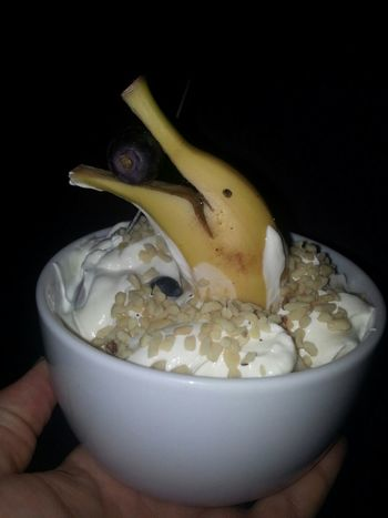 the wife wanted banana in her breakfast no dolphins where hurt making this lol Breakfast ♥ Messing Around