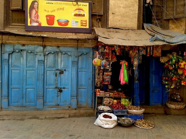 Colourful shop in the streets of Kathmandu. ASIA Blue Door Colorful Colorful City Kathmandu Local Shops Nepal No People Shop Street Scene Travel Photography Colour Of Life Neighborhood Map