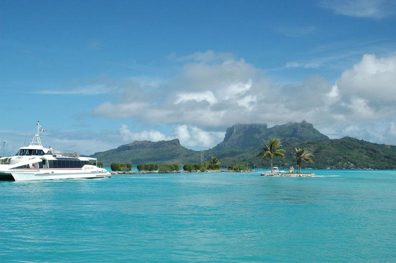 Blue Boat Bora Bora  Bora Bora Airport Mode Of Transport Moored Mountain Nautical Vessel Scenics Sea Sky Tranquil Scene Transportation Water