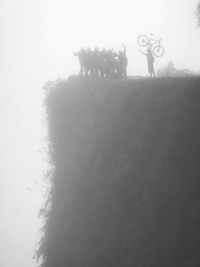 On the death road in Bolivia Roadtrip Travel Traveling On The Road Eye4photography  Bolivia Biking Bike Death Road Landscape Beauty In Nature Nature EyeEm Nature Lover Naturelovers Nature Photography Nature_collection Landscapes Landscape_Collection Danger Dangerous Cliff Fog Silhouette Foggy Famous Place It's About The Journey 2018 In One Photograph Stay Out
