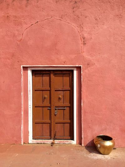 Closed door of traditional house