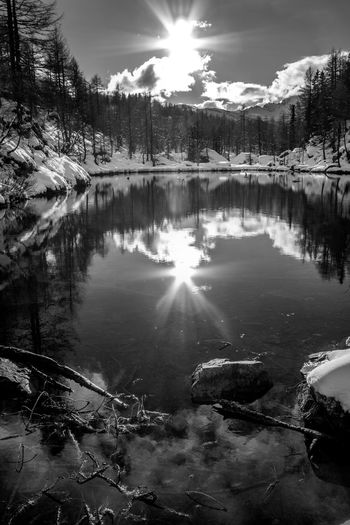 BW. Lago delle Streghe. Alpe Devero. BW. Lake of the Witches. Alpe Devero. Tranquility Tranquil Scene No People Sky Non-urban Scene Beauty In Nature Blue Day Cloud - Sky Clear Sky Landscape Lake Mountain Nature EyeEm Best Shots EyeEmNewHere EyeEm Nature Lover EyeEm Selects EyeEm Gallery Scenics Winter Snow Relaxing Blackandwhite Black & White