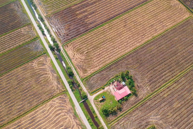 Irrigation Equipment Rural Scene Above Agriculture Aerial View Plowed Field Field High Angle View Road Cereal Plant