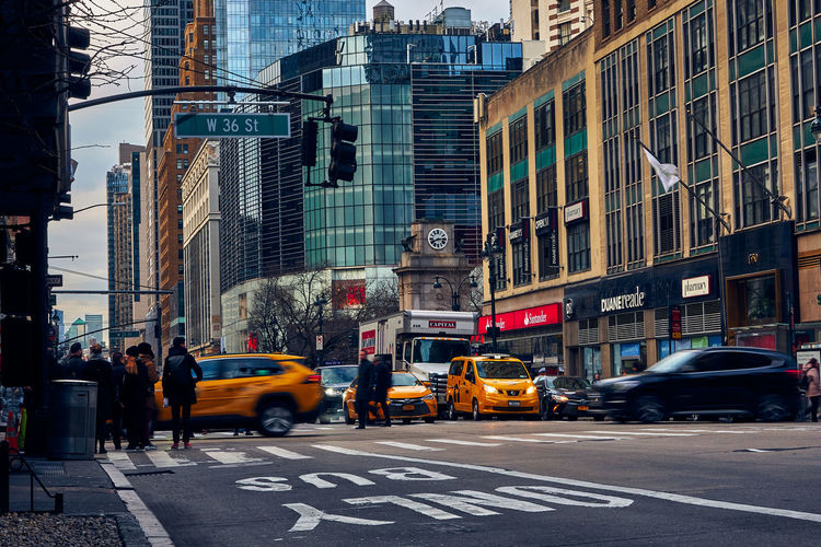 View of city street and buildings in manhattan new york