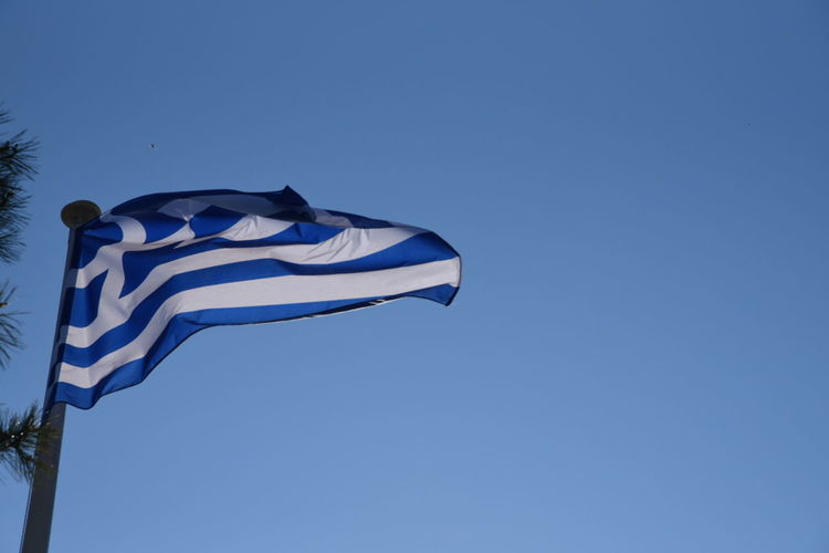 Flag Patriotism Blue Wind Outdoors Clear Sky Low Angle View Day No People Sky Nature Greek Flag
