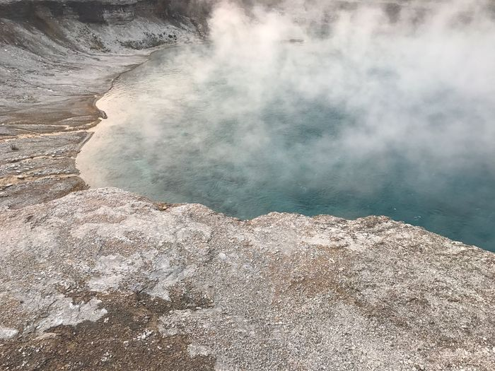 Scenic View Of Hot Spring In Volcanic Landscape