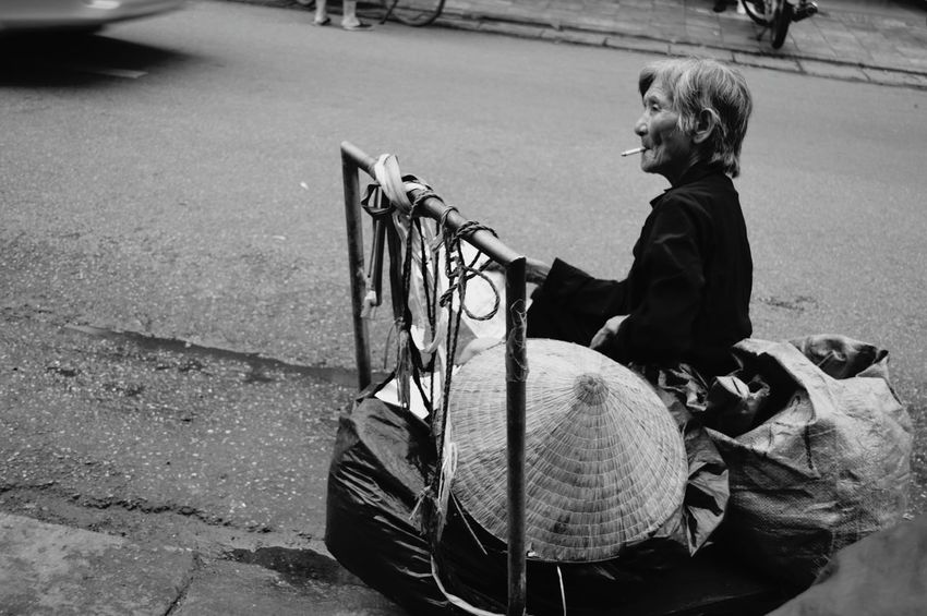 Black And White Friday One Woman Only Street Lifestreet Oldwoman Outdoors City Street Blackandwhite Photography Lodvieliz Hanoi, Vietnam Walking Around Taking Pictures Around The City
