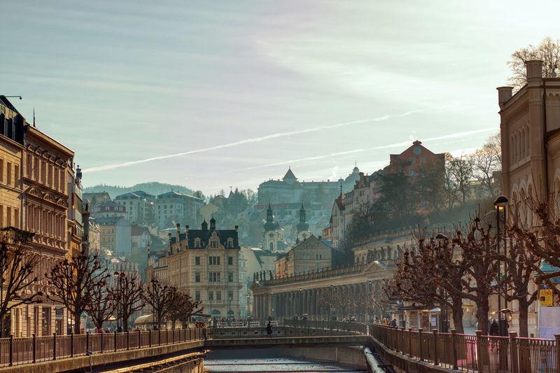 Karlovy vary winter morning walk over bridge river stream