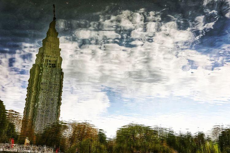 뭔가 좋은데 복잡하고 어지러운 마음 . . #하루한컷 #신주쿠교엔 #하늘 #반영 #복잡한마음 #5DMARK4 #사무캅 #EF35MMF2 Bird Tree Flying Water Sky Animal Themes Cloud - Sky