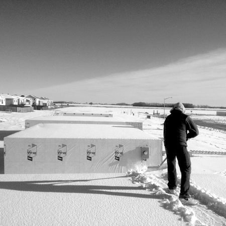 QVHoughPhoto Minnesota Moorhead Winter Snow Cityscapes Blackandwhite IPhoneography IPhone4s Outdoors Shoveling Construction