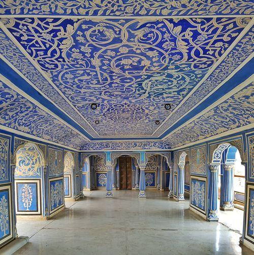 Blue Wave Royal Palace City Palace Jaipur Balcony Indigo Flower Painting Design Art Architecture Royal Leasure Room Historic ArtWork The Architect - 2016 EyeEm Awards The Secret Spaces