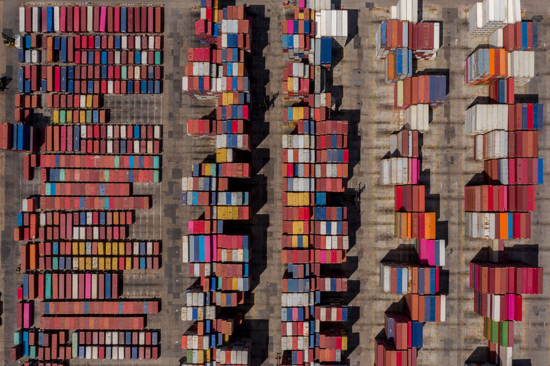 Aerial view of containers at dock