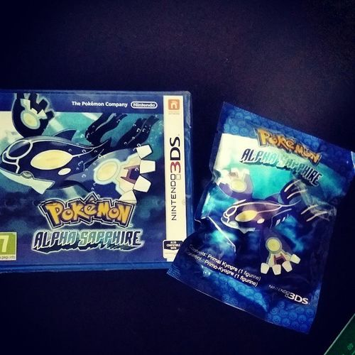 """Childhood about to be re-lived :D i dont care if im """"too old"""" im gunna have fun when i want to x) Pokémon Alpha Sapphire Childhood blue kyogre primal nintendo 3ds thepokemoncompany"""