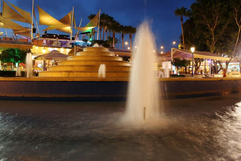 Ayianapa Cyprus Nightphotography Light In The Darkness Fontain Nofilter Noedit