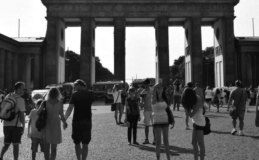 Large Group Of People Real People Architecture Men Women Built Structure Lifestyles Building Exterior Architectural Column Travel Destinations Outdoors Day City Crowd Sky Adults Only Adult People Black And White Black & White Blackandwhite Blackandwhite Photography Brandenburger Tor Streetphotography Black And White Photography