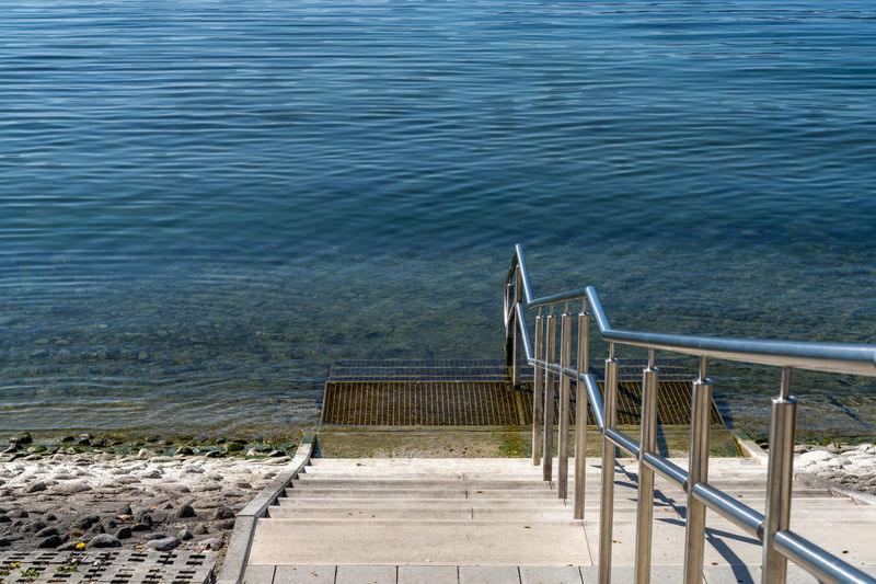 High angle view of staircase at beach