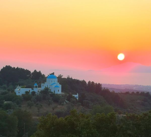 Sunrise at zia, kos Dominickinel Greece Dream Romantic Colourful Fun colour of life Sunrise Likeadream Holiday Evening EyeEmNewHere Tree Dawn Sunset Rural Scene Fog Agriculture Farmhouse Hill Morning Sky