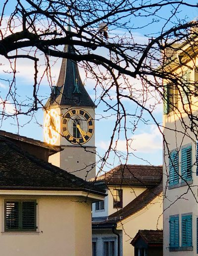 Building Exterior Built Structure Architecture Sky Building Tower Low Angle View No People Nature Tree Sunlight City Clock Tower Clock Cloud - Sky Hanging Time Day Outdoors Plant