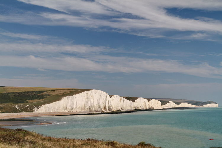 Cliffs by sea against sky at seven sisters country park