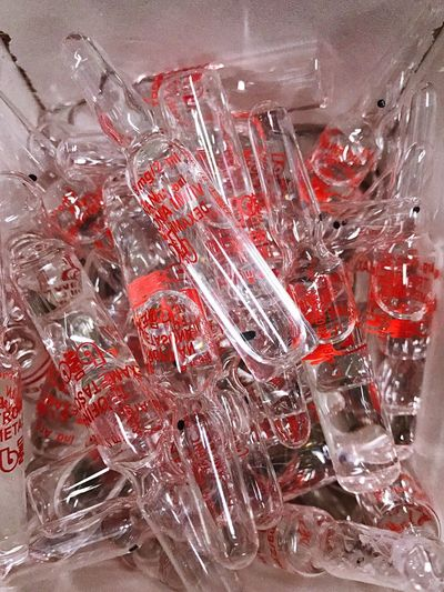 No People Indoors  Red Water Close-up Day Large Group Of Objects Bottle Healthcare And Medicine Medicine Medical Equipment Ampollas Ampolla Medicine Bottle Medical Treatment Glass Ampoule Medical Ampoule