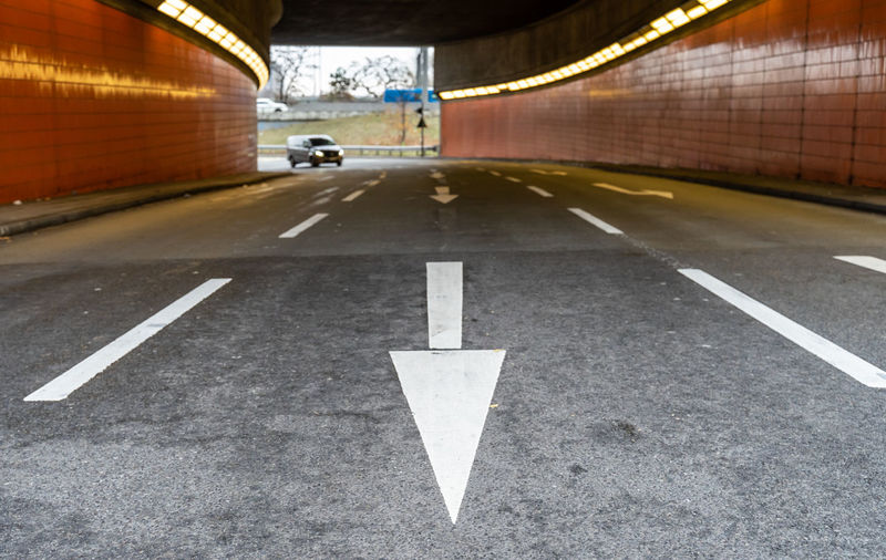 ICC Charlottenburg  Tunnel Underpass Transportation Sign Road Direction Symbol Arrow Symbol Communication Marking Road Marking City Architecture The Way Forward Mode Of Transportation Directional Sign Street Guidance Illuminated Asphalt Motion Traffic No People Outdoors Traffic Arrow Sign Dividing Line